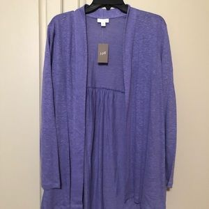 J.Jill Linen Light Cardi. Thistle Color.